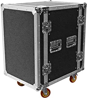 Seismic Audio - SATAC16U - Heavy Duty 16 Space ATA Rack Case with 4 Inch Casters - Pro Audio DJ Rack - 16U Server Network Case