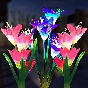 MAOKOT Solar Lights Outdoor ,3 Pack Solar Flower Lights Multi-Color Changing 12 Bigger Lily Solar Garden Lights for Garden Yard Patio Decoration