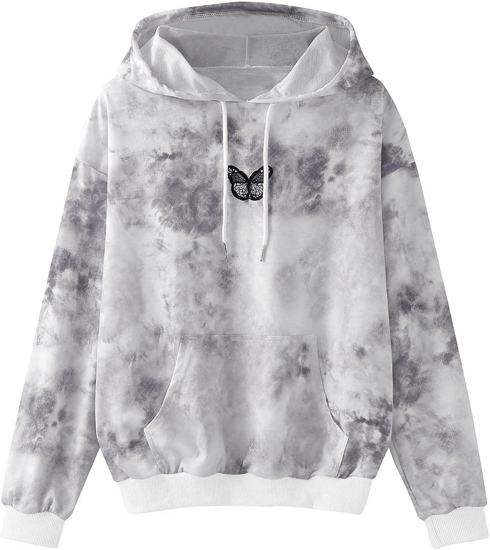 ONHUON Sweatshirts for Women, Womens Teen Girls Fashion Gardient Print Long Sleeve Hoodie Sweatshirt Casual Blouse Tops