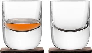 LSA International Whisky Renfrew Double Old Fashioned Tumbler & Coaster (2 Pack), 9.1 fl. oz., Clear/Walnut