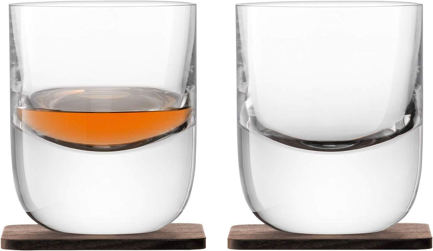 LSA International Whisky Renfrew Double Old Fashioned Tumbler Coaster 2 Pack 9 1 Fl Oz Clear Walnut