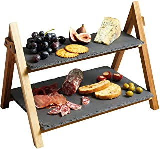 LiebHome Cheese Board/Slate Cake Stand – 2 Tier Cake Stand Serving Stand, Dessert stand – Triangular Serving Stand for Parties, Birthdays and Weddings – 41 x 33 x 25 cm