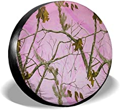 PQIEJF Pink Realtree Camo Spare Tire Cover PVC Leather Waterproof Dust-Proof Universal Spare Wheel Tire Cover Fit for Jeep,SUV 14