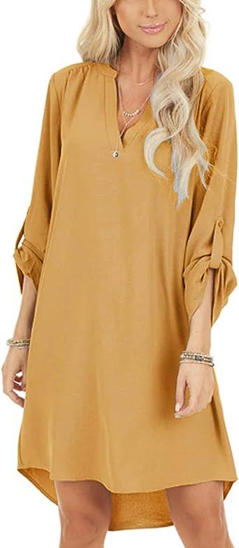 YOINS Mujer Vestido Camisero Vestido con Cuello En V Camisa Manga Larga con Botones Moda Vestido Casual Camisa Vestido Túnica
