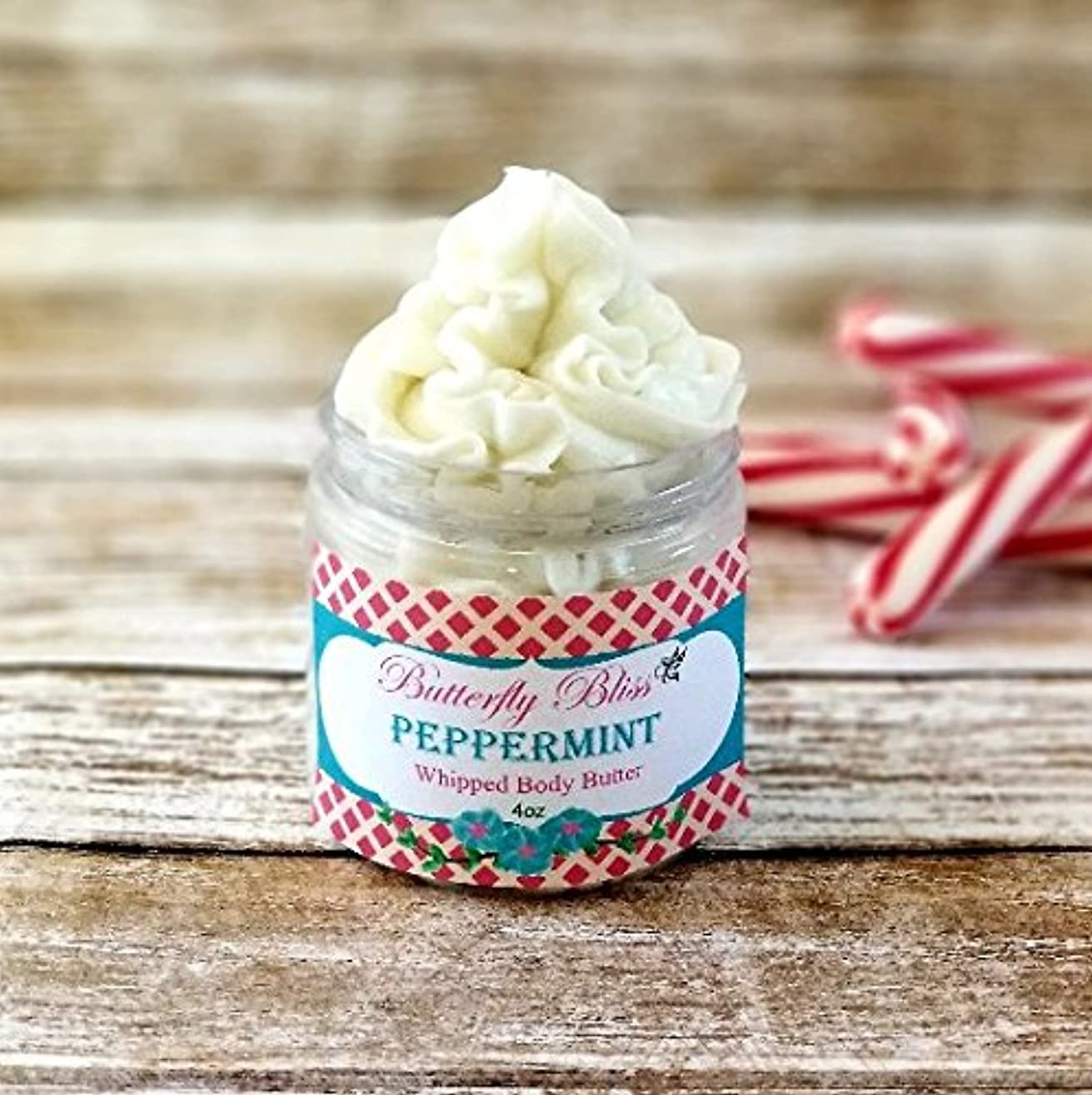 Peppermint Whipped Body Butter, natural lotion, organic, 4oz jar, made with shea butter, mango butter, coconut oil, almond oil