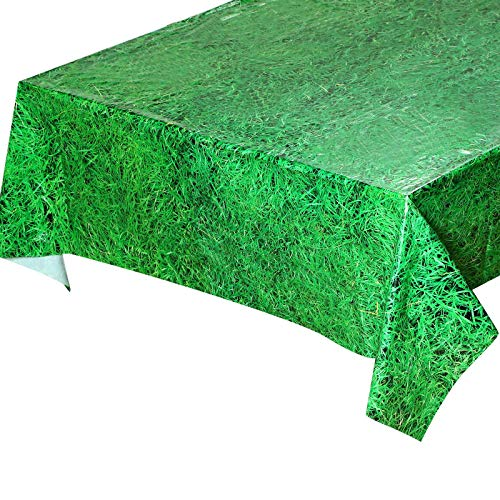 3 Piezas Manteles de Césped de Plástico Desechable, Mantel de Letrero de Hierba Verde Vibrante para Decoraciones y Suministros de Fiestas Temáticas de Fútbol o Deportes, 54 x 108 Pulgadas