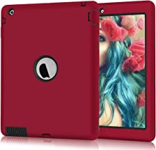 iPad 2 Case, iPad 3 Case, iPad 4 Case, Hocase Rugged Slim Shockproof Silicone Rubber+Hard Plastic Dual Layer Protective Case Cover for 9.7-inch iPad 2nd/3rd/4th Generation - Red/Black