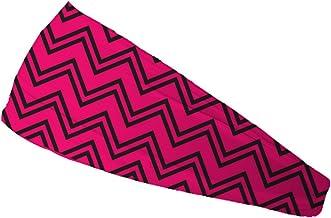 عصابة رأس بوندي باند شيفرون باللون الوردي الفاقع لامتصاص الرطوبة 10.16 سم