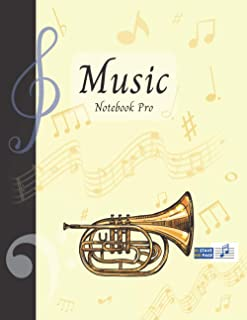Music Notebook Pro With Instrument - Cornet | Advanced 10 Staves Interior With Educational Materials: Music Manuscript Pap...