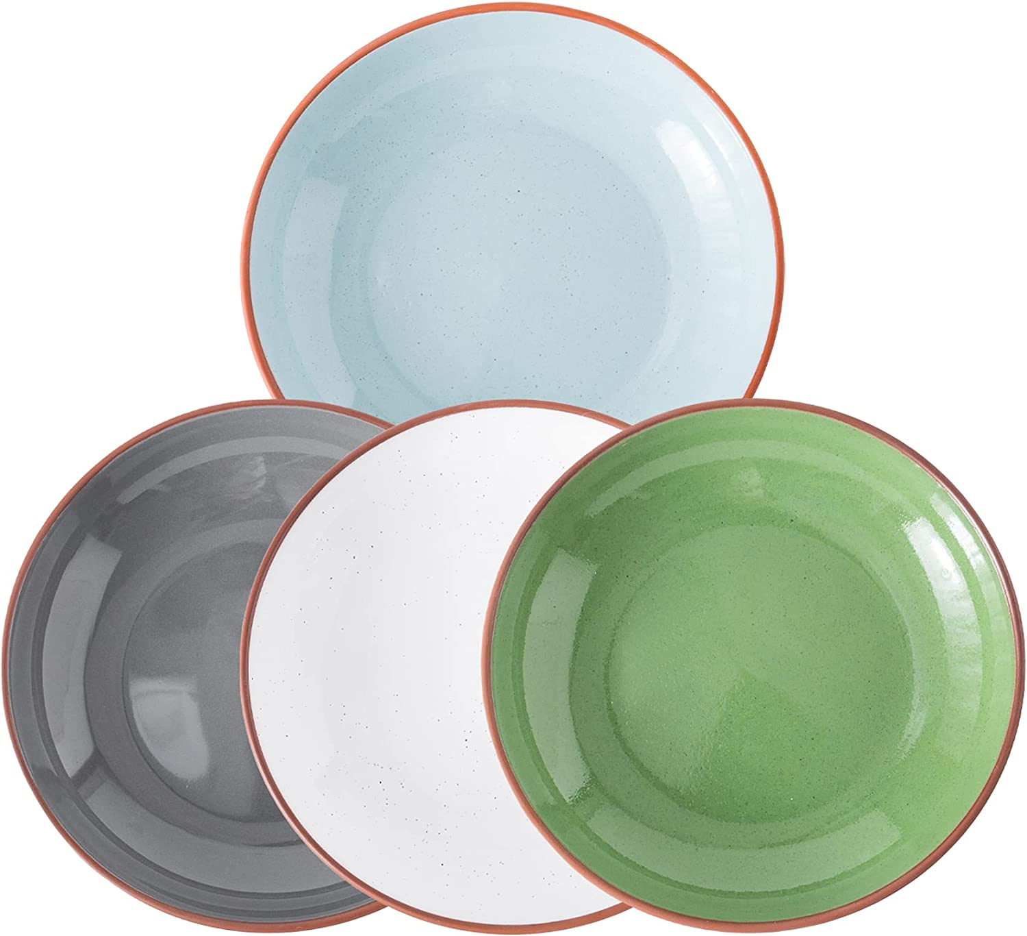 Amoi Large Pasta Bowl Set Of 4 Limited time trial price Ceramic inch Plates 3 Denver Mall 9.25 Dinner