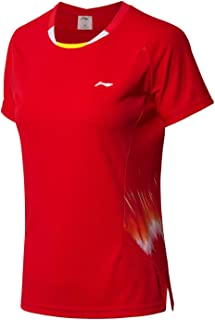 LI-NING at Dry Women's Badminton Competition T-Shirts National Team Sponsor Fans Version Sports Tees AAYN072