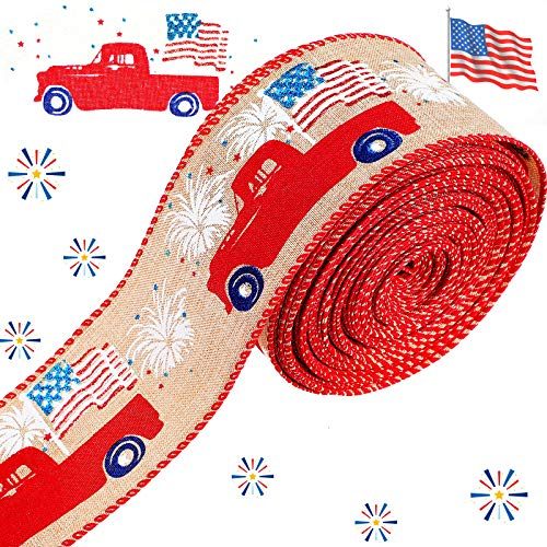 2.5 Inch Patriotic Wired Edge Ribbon Vintage Trucks and American Flags Ribbon, 20 Yards Independence Day Red Farm Truck July 4th America Wired Ribbon for DIY Fourth of July Decoration Wrapping Craft