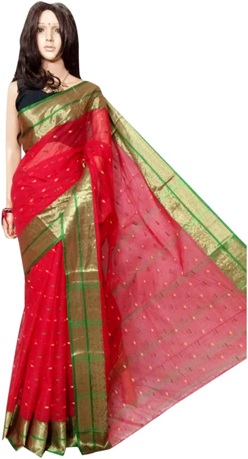 Red Ethnic Indian Pure Cotton tant Sari small print work Beautiful Border work Women saree Festive offer 102A