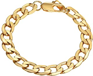 Cuban Chain Bracelets Mens 18k Gold Plated 8MM Wide Hand Chain Bracelet Men Jewelry Gift for Him PSH3008J-19