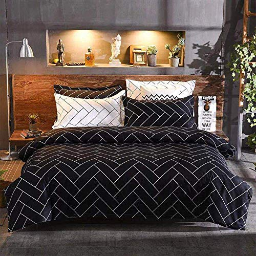 BH-JJSMGS Easy care soft microfiber-bedding and pillowcase, (with zip closure), printed duvet cover and pillowcase, 135x200 (two-piece set) black