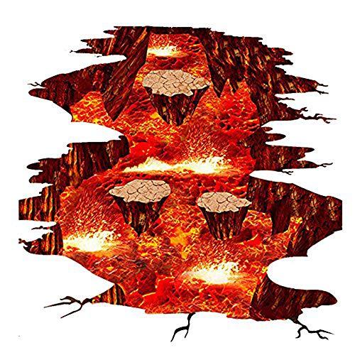 Vektenxi Premium Qualität Volcano Auslauf Magma Lava Rock Wandtattoo Boden Aufkleber Home Decor für Schlafzimmer Kindergarten Wohnzimmer Treppen 24x35 Zoll