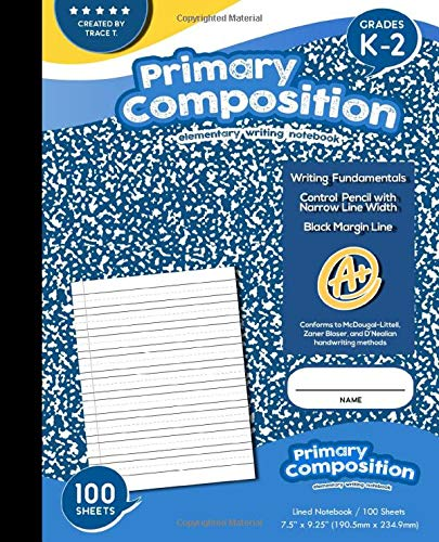 Primary Composition Elementary Writing Notebook, Lined Paper with Margin, Grades K-2 Writing Workbook, 100 Sheets, Blue Marble: Wide Ruled Comp Book, Dotted Notebook Perfect for Home School Supplies