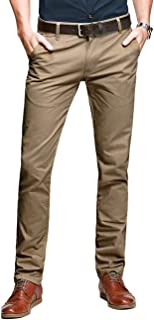 Mens Slim Tapered Flat Front Casual Pants