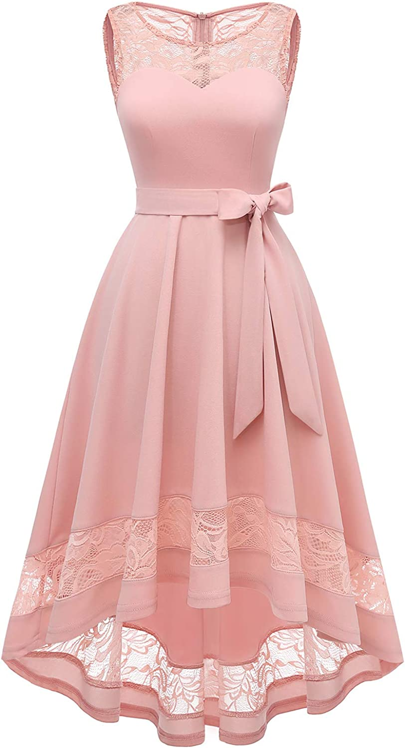 Gardenwed Women's Vintage Floral Lace Dresses Cocktail Formal Swing Dress Hi-Lo Bridesmaid Dresses Homecoming Dress for Party