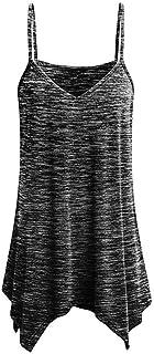 Lenfesh Camisetas Tirantes Sin Mangas para Mujeres Chicas Blusa Top Blusa del Dobladillo Asimetricas Irregular Sexy y Moda