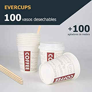 Evercups 100 Vasos Desechables de Café para Llevar - Vasos Cartón 200ml / 8oz y Agitadores de Madera para Servir el Café, el Té, Bebidas Calientes y Frías. 100% reciclable. Tazas Cafe. Coffee to go.