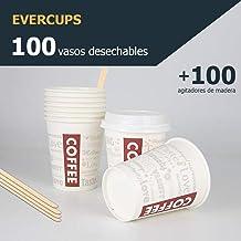 Evercups 100 Vasos Desechables de Café para Llevar - Vasos Cartón 200ml / 8oz y Agitadores de Madera para Servir el Café, el Té, Bebidas Calientes y Frías. 100% reciclable. Tazas Cafe. Coffee to go