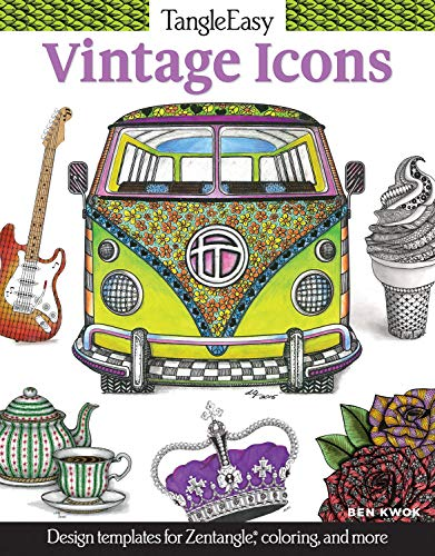 TangleEasy Vintage Icons: Design Templates for Zentangle (R), Coloring, and More (Design Originals) Tangle, Pattern, and Color Retro Designs like a Jukebox, Telephone, Gramophone, Lighthouse, & Camera