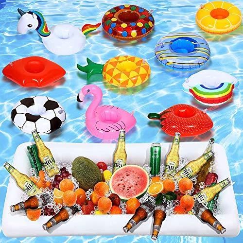 Maitys 12 + 1 Pezzi Gonfiabili Pool Drink titolari includono Unicorno / Nube / Ananas / Flamingo / Anatra Gialla Gonfiabile titolari di Una Tazza di Piscina e Grande Vassoio di Insalata Gonfiabile