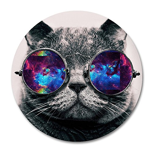 Galaxy Cat Round Mouse Pad by Smooffly,Galaxy Hipster Cat Wear Color Sunglasses Mousepad Round Non Slip Rubber Mouse pad Gaming Mouse Pad