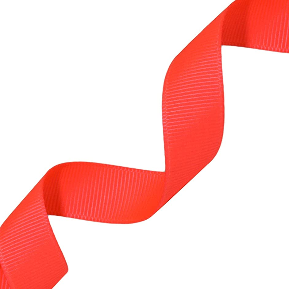 Morex Ribbon Neon Grosgrain Ribbon, 5/8-Inch by 20-Yard, Neon Coral