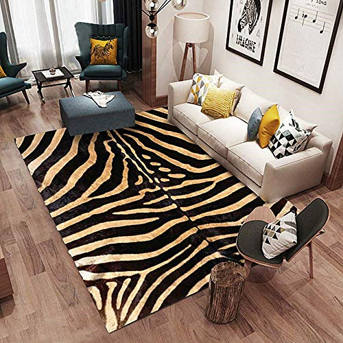 Alfombra De Diseño fácil de Limpiar Diseño de Cebra con Estampado Animal, Alfombra Suave y Duradera de Gran Grosor 0.7cm-80 * 160CM