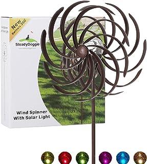 Solar Wind Spinner Improved 360 Degrees Swivel Multi-Color LED Lighting Solar Powered Glass Ball with Kinetic Wind Spinner...