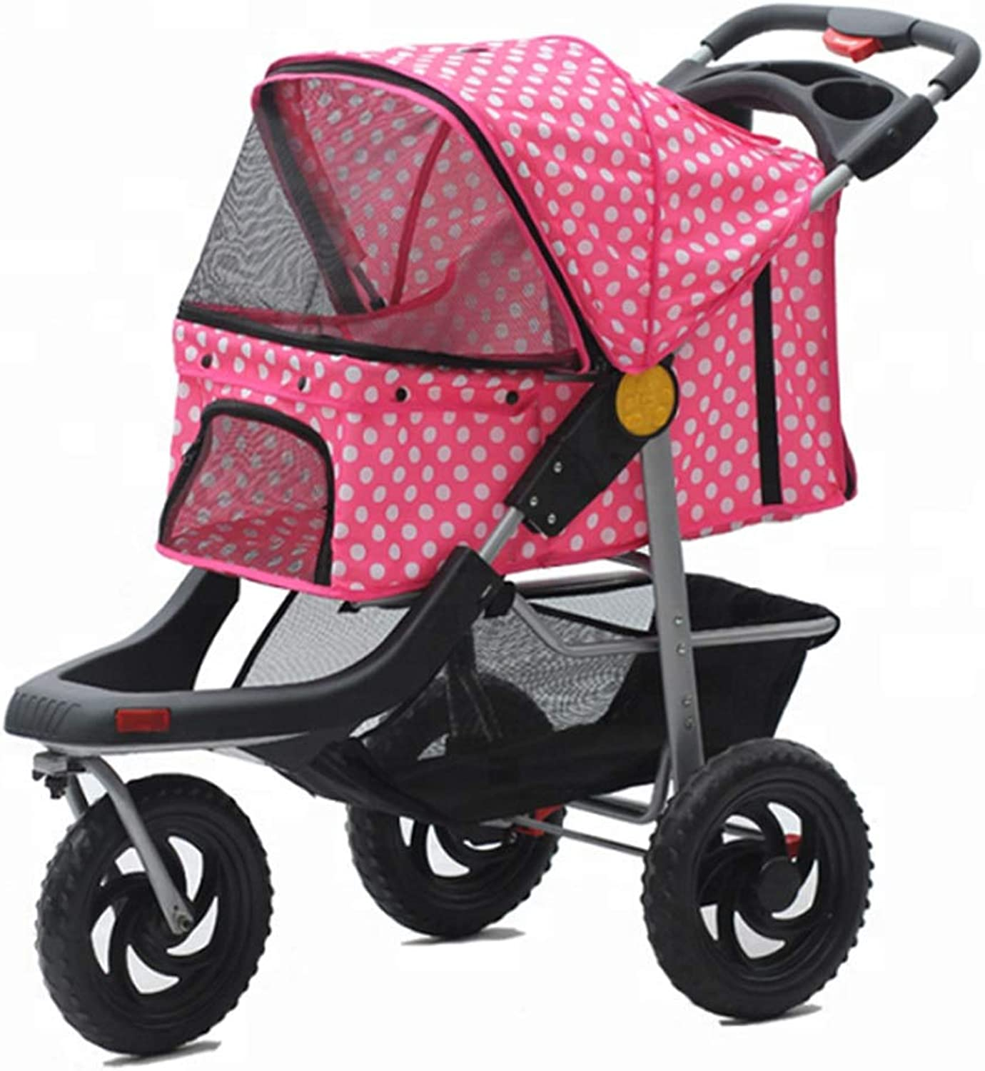 MZP Three Wheels New Dog Pram Suspension Easy Foldable Pram For 600D Oxford Cloth Maximum Weight 25Kg Wheels 360 Degree redatable Cup Holders Storage Basket 6 EVA Steel Wheels (color   C)