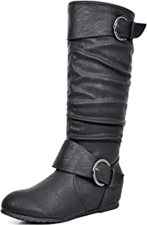 DREAM PAIRS Women's Knee High Low Hidden Wedge Boots (Wide Calf)