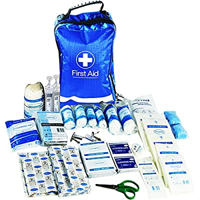 JFA 170 Piece Comprehensive First Aid Kit Bag – includes Emergency blanket, Ice pack, Wound closure strips, Bandages and Dressings, suitable for Home, Workplace, Car and Travel (Blue) by JFA Medical