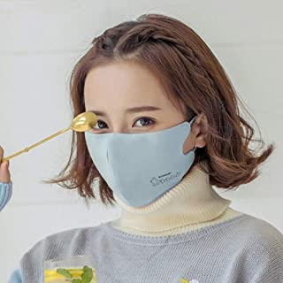 Adjustable Ear Hook Cotton Chin Mask Female Winter Dust-proof Warm Cute Cartoon Korean Printing Women Fashion Outdoor Breathable Washable (Color : Blue)
