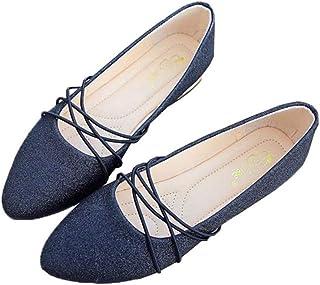 [ふーふうん] パンプス レディース 靴 ローヒール ぺたんこ 痛くない 春 夏 キラキラ 歩きやすい シューズ ポインテッドトゥ パーティー 結婚式 二次会 美脚 パーティー