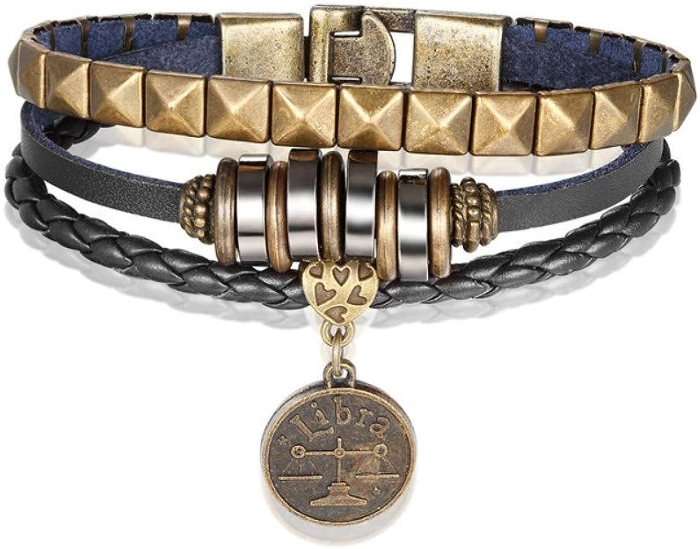 Bracelet Men,12 Constellation Bracelet Fashion Casual Multilayer Leather Libra Bracelet Men Bracelet Fashion Black Women Bracelet