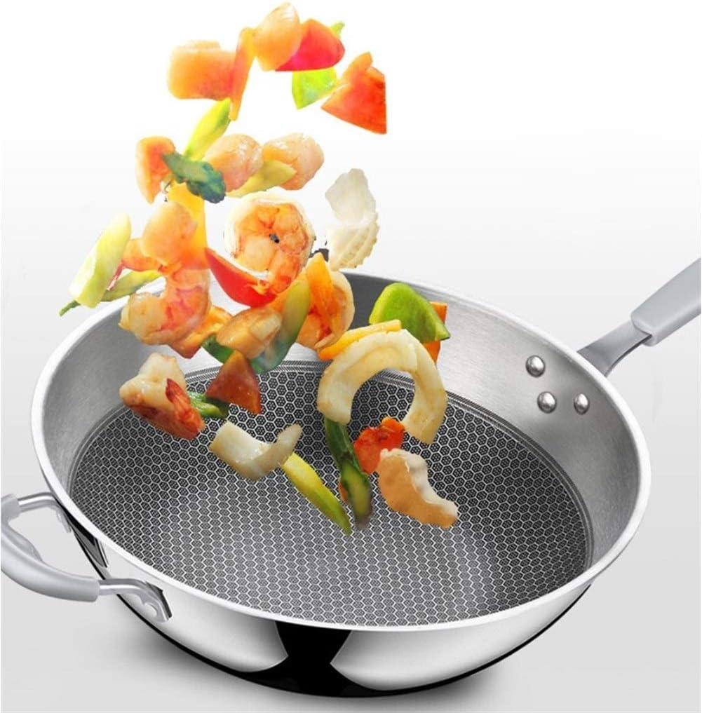 Pratique 34cm ménages antiadhésive Smokeless Verre Wok Cuisine à frire Couverture longue poignée de gaz Cuisinière Batterie de cuisine universelle Bien fait (Color : 34cm) 32cm