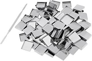 HOMYL Set of 100 Empty Square Metal Tin Palette Pans with Stick For Eyeshadow DIY Palette Size 26mm Responsive To Magnets For Palettes