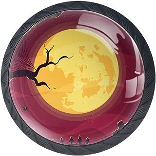 BestIdeas - Tiradores Redondos para cajones 4 Unidades para Cocina aparador Puerta Armario Halloween Moon 3.5×2.8CM...