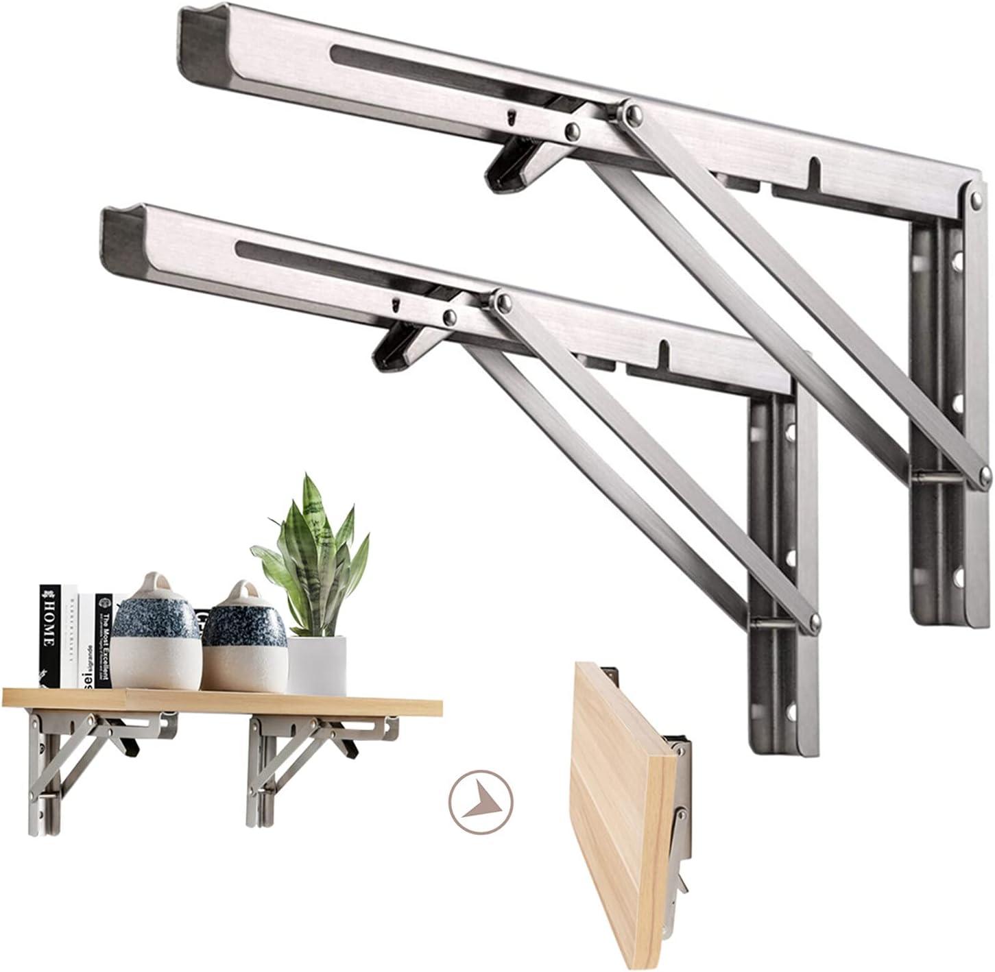 Folding Shelf Brackets 24inch Heavy Steel Stainless Duty Foldabl New Shipping Ranking TOP6 Free