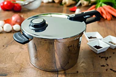 Fissler vitavit premium 6 Piece Pressure-Cooker Set (6.4qt & 2.7qt) with Glass Lid, Insert, Stainless Steel Induction, Si