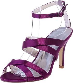 Vimedea Womens Heeled Sandals Ankle Strap Wedding Bride Open Toe Satin 9920-01