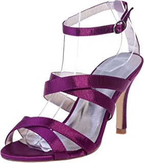 Vimedea Womens Heeled Sandals Ankle Strap Wedding Bride Open Toe Satin 9920-01