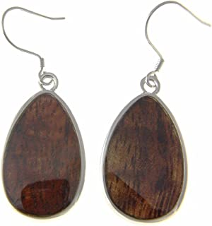 Koa Wood Hawaiian Tribal Teardrop Rhodium Plated Brass Hook Wire Earrings