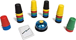 Speed Cups Game with Cards for Kid, LUXJET Classic Quick Stacking Cup Game for Kids Parent-Child Interactive Game with 24 Picture Cards, 30 Cups (6 Sets of 5 Colors Each), Bell & Instruction