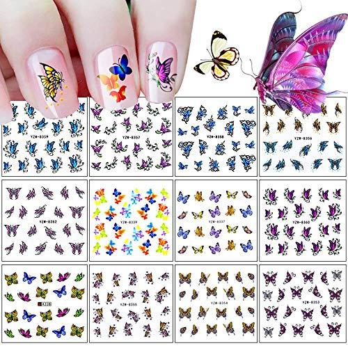BGPOM Nail Sticker Set 3D Butterfly Series Watermark Nail Sticker Decal DIY Jewelry 12 pièces/Ensemble