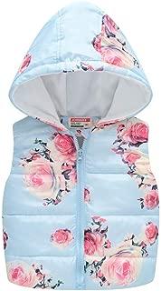 Tronet Baby Winter Coat Boys Girl Toddler Kids Baby Girl Boys Sleeveless Floral Flowers Hooded Warm Waistcoat Tops