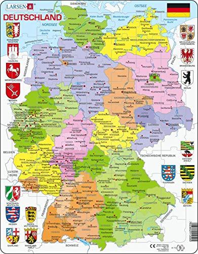 Larsen A11 Mapa Político de Alemania, edición en Alemán, Puzzle de Marco con 70 Piezas
